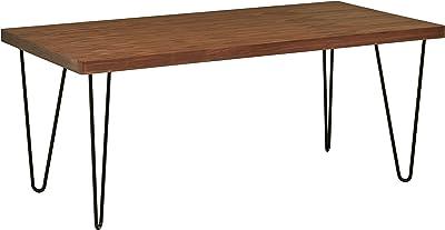 Marque Amazon -Rivet - Table de salle à manger aux pieds ultra-fins et au look industriel, largeur 180cm, Noyer et noir