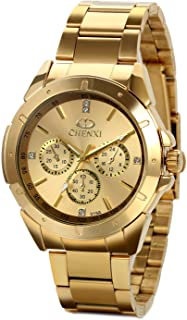 JewelryWe Birthday Gifts Mens Wrist Watches Gold Stainless Steel Analog Black Dial with Rhinestones