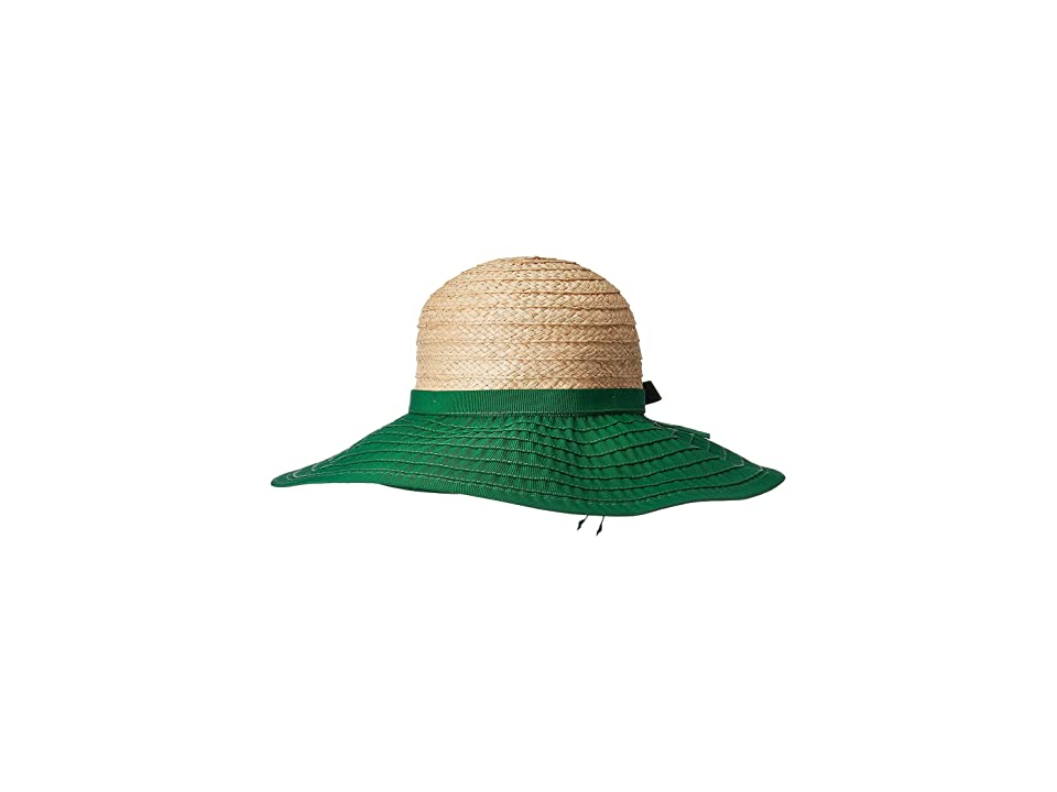 San Diego Hat Company RBL4828 - Large Brim Ribbon Hat with Raffia Crown and Adjustable Tie (Green) Caps