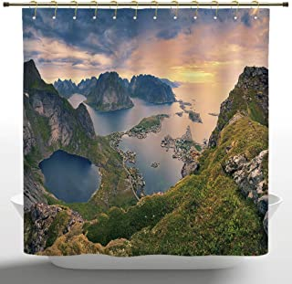 iPrint 72 X 72 Inch Shower Curtain, Landscape,Reinebringen at Lofoten Islands in Norway Summer Sunrise Rocky Coastline,Blue Green Coral,Water and Mildew Resistance Kids Shower Curtain Designs