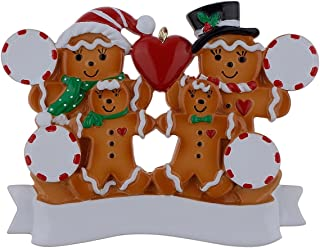 MAXORA Personalized Ornament Gingerbread Family of 4