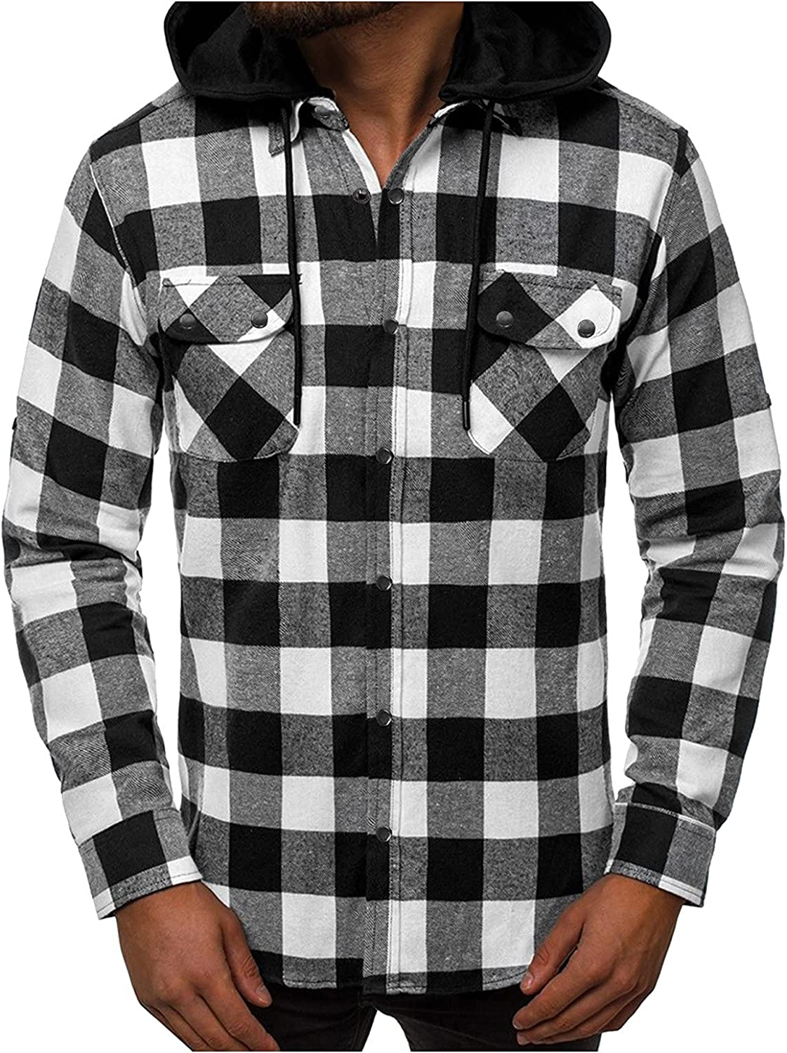 XXBR Checked Hoodies for Mens, 2021 Fall Plaid Removable Hooded Sweatshirt Snap On Button Casual Shirts with Pockets