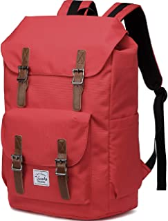 School Backpack,Vaschy Water Resistant Drawstring Laptop Backpack Women for 15.6 inch Laptop Red