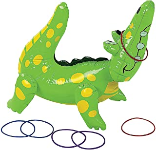 Fun Express - Inflatable Alligator Ring Toss Game - Toys - Inflates - Inflatable Games - 7 Pieces