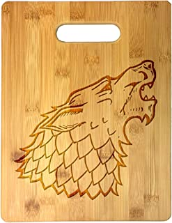 Single Wolf Head Game Crest TV Show Parody Laser Engraved Bamboo Cutting Board - Wedding, Housewarming, Anniversary, Birthday, Father's Day, Gift (Wolf)