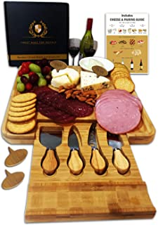 Radiant Royals Cheese Board Set, Charcuterie Board, Cheese Cutting Plate, Bamboo Serving Tray with Cutlery Knives in Drawe...