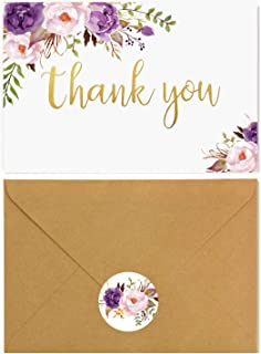 60 Thank You Cards with Envelopes - Gold Foil watercolor Boho Floral - Perfect For Wedding, Baby shower, Bridal Shower-3.75'' x 5'' blank on inside