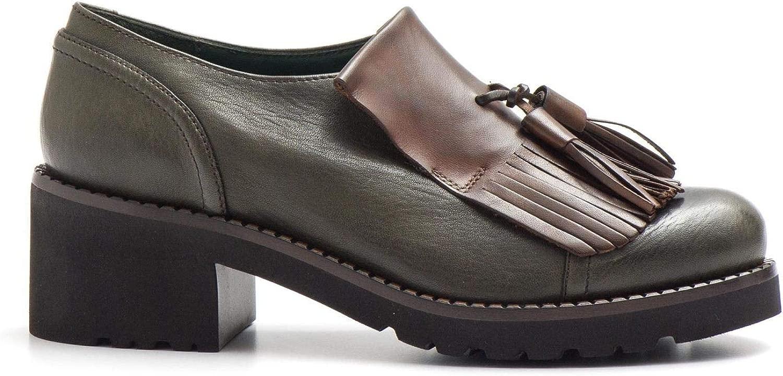 Calpierre - Pantofola Pelle verde con Frangia Marronee - D439ANIMAL