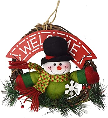 XONOR Christmas Wreath for Front Door - 23cm Door Wreaths Christmas Home Door Hanger Wall Car Decoration (Snowman)