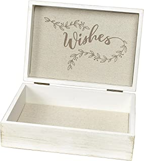 Lillian Rose GA520 W White Antique Wooden Wishes Box, One