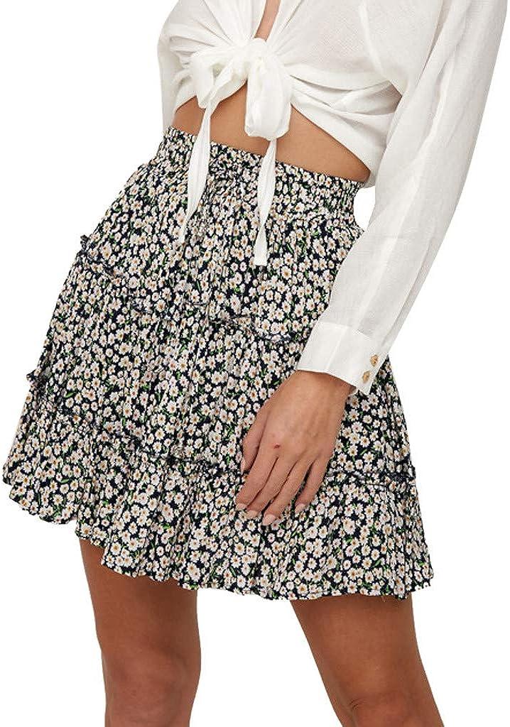 Womens A-Line Mini Dresses Summer Casual Bohe High Waist Lace-Up Ruffled Floral Print Beach Short Skirt (L2, Navy)