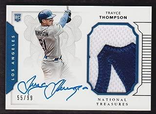 2016 Panini National Treasures Baseball #202 Trayce Thompson RC Auto Jersey 55/99 Los Angeles Dodgers