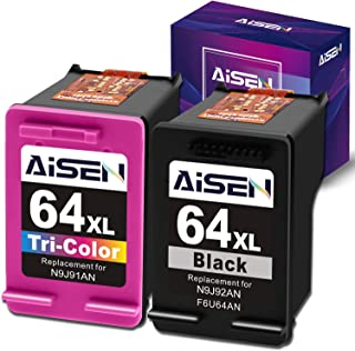 AISEN Remanufactured HP Ink Cartridge 64 Replacement for HP Envy Photo 7855 7155 6255 6230 6252 6258 7120 6220 7130 7132 7158 7164 7820 7830 7858 7864 7800 Envy 5542 Printer(1 Black 1 Tri-Color)