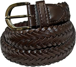 Braided Casual Brown Leather Belt