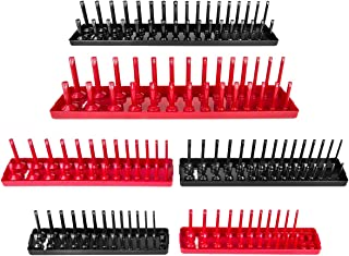 6PCS Socket Organizer Tray Set, Red SAE & Black Metric Socket Storage Trays, 1/4-Inch, 3/8-Inch & 1/2-Inch Drive Deep and ...