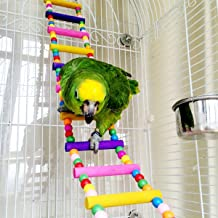Mrli Pet Ladder Bird Toys for Bird Parrot Macaw African Greys Budgies Cockatiels Parakeet Hamster Rat Crawling Rainbow Bridge Wooden Cage Funny Perch Trainning Swing Toys