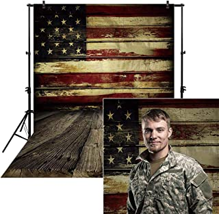 Allenjoy 6x8ft Vinyl Photography Backdrop American Flag Wooden Floor Wall Veterans Day Decor 4th of July Party Independence Day Banner Photo Studio Booth Newborn Baby Shower Background photocall