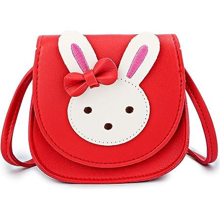 KEREDA Kinder Umhängetasche Mädchen, Niedlicher Hase CrossBody Bag, PU Leder Prinzessin Mini Taschen für Kinder Mädchen 2-10 Jahre