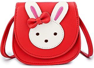 KEREDA Borsa a tracolla per bambini con coniglietto, in pelle PU, principessa, mini tasche per bambine da 2 a 10 anni