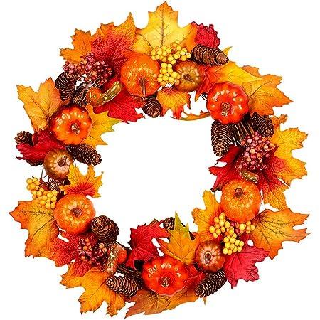 Floristrywarehouse Artificial Autumn Wreath 40cm 16 Inch Diameter Amazon Co Uk Kitchen Home