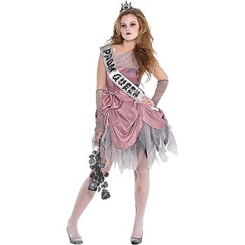 Girls Bloody Prom Queen School Costume Halloween Fancy Dress Outfit Kids Zombie