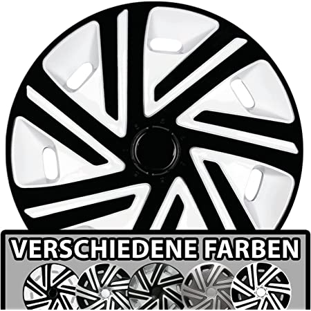 Premium Radkappen Radzierblenden Radblenden Modell Cyrkon 4er Set Farbe Schwarz Silber Felgendurchmesser 16 Zoll Auto
