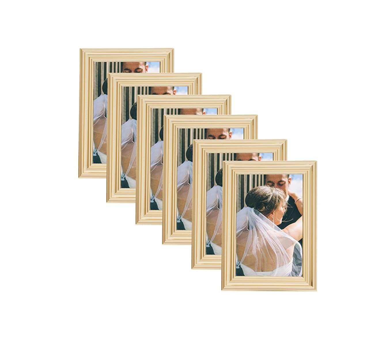 Plated Gold Picture Frames (6 pc) Display with Photo Glass Front, Easel Back, Hanging Clip (Set of 6, 4x6)