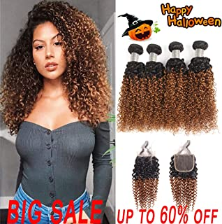 Jiuling 2 Tone Ombre Kinky Curly 4 Bundles with Closure (18182020+16,1B/30) Wet and Wavy Ombre Brazilian Kinky Curly Human Hair weaves
