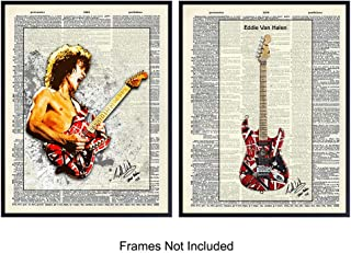 Eddie Van Halen On Photo of Dictionary Page - Unframed Wall Art Prints - Great Gift for Music and Rock n Roll Fans - Cool Steampunk Home Decor - Ready to Frame (8x10) Vintage Photos