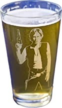Han Solo Star Wars Collectible Pint Glass - Heat Treated Engraved Barware