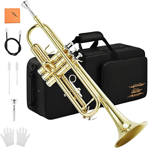 Eastar Gold Trumpet Brass Standard Bb Trumpet Set ETR-380 For Student Beginner with Hard Case, Gloves, 7 C Mouthpiece...