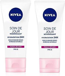 NIVEA Soin De Jour 24H Hydratant Nourrissant FPS15 (2 x 50 ml), crème hydratante visage enrichie en beurre de karité, soin...