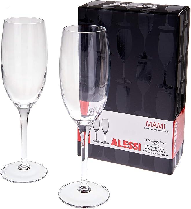 set di 6 calici in cristallo (alessi mami, flute da spumante , flute da champagne ) lazylife b08drwg8r5