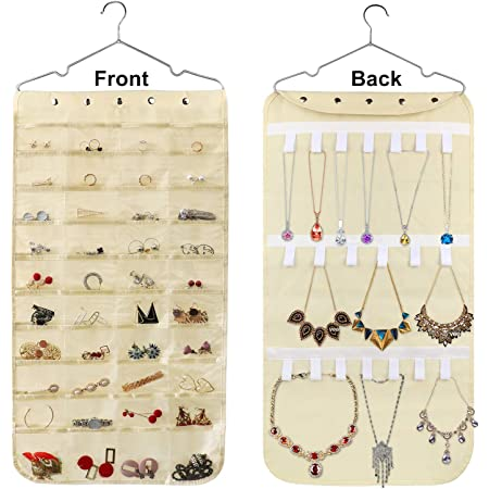 Hanging Jewelry Organizer, Double Sided 40 Pockets and 20 Magic Tape Hook Jewelry Organizer, Necklace Holder Jewelry Chain Organizer for Earrings Necklace Bracelet Ring with Hanger, Beige