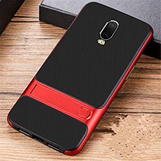 Oneplus 6T shock proof Hybrid Shield case with kick stand for OnePlus 6T Red color