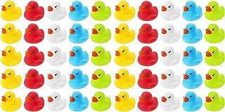 Wellgro 50 Patos de baño (Amarillo, Rojo, Blanco, Azul, Verde), Cada Pato de Quitsche-Ente Aprox. 3,5 x 3 cm (diámetro x Altura), Patito de Goma, en Red.