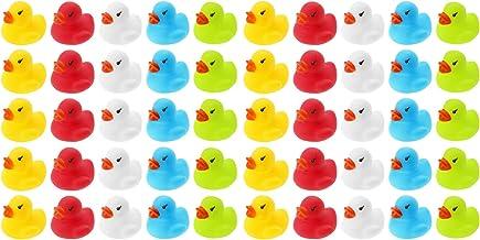 50 patos de baño de Wellgro – multicolor (amarillo, rojo, blanco, azul, verde), cada pato de Quitsche-Ente aprox. 3,5 x 3 cm (diámetro x altura), patito de goma, en red.