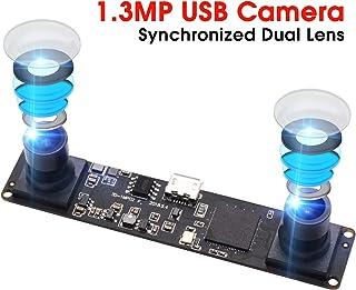 Synchronized Dual Lens Stereo USB Camera 1.3MP HD 960P Webcam 3D VR Web Camera Module with 1/3 CMOS OV9715 Image Sensor Camera Module Mini Industrial USB2.0 Web cam Plug&Play for Android,Linux,Windows