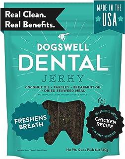 Dogswell Dog Dental Care Treats Made in USA Only, Grain Free Chicken Jerky Dog Treats Freshen Breath