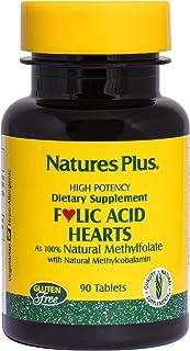 NaturesPlus Folic Acid Hearts (Methylfolate) - 400 mcg, 90 Vegetarian Tablets - with Vitamin B6 & Vitamin B12 (as Methylco...