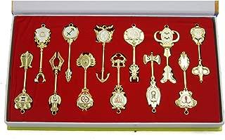 New Japanese Anime 12 Pcs/set New! Fairy Tail Aries / Taurus / Gemini Keys Cos Pendants Anime Gold Zinc Alloy Keychains by Fairy Tail