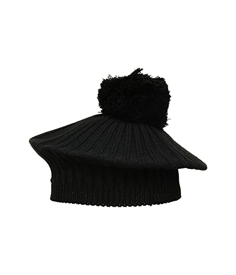 Women's Vintage Hats | Old Fashioned Hats | Retro Hats MICHAEL Michael Kors Rib Beret w Pom BlackSilver Berets $38.00 AT vintagedancer.com