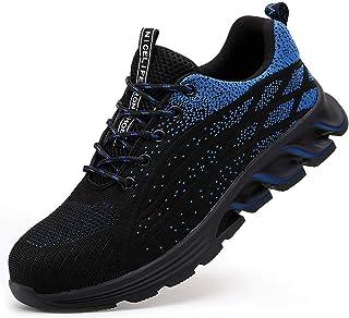 N-B Fei - Zapatos de seguro de trabajo tejidos para hombre, transpirables, ligeros, antigolpes, antiperforación, puntera d...