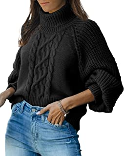 FUERI Womens Knitted Jumper Turtleneck Sweaters Lantern Sleeve Puffed Chunky Loose Oversized Winter Knitwear Tops