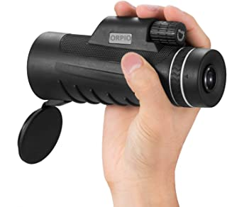 ORPIO (LABEL) High Definition Monocular Telescope HD Dual Focus Scope, Waterproof Compact Monocular with Multi-Coated Zoom Lens Low Night Vision for Hunting Bird Watching Camping Outdoor (Black)
