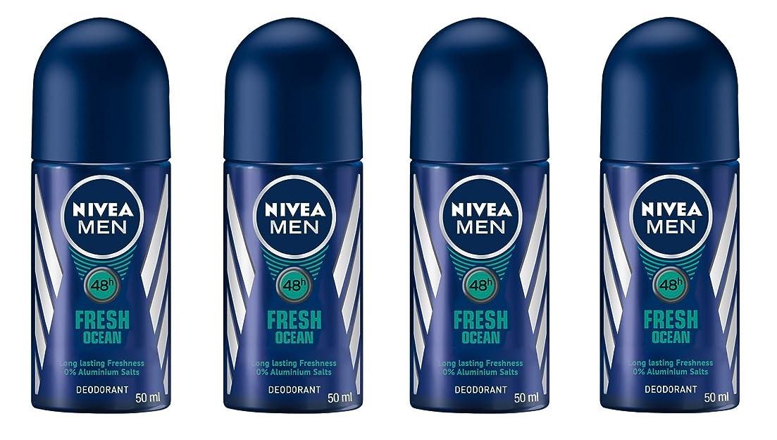 ハグ有力者マント(Pack of 4) Nivea Fresh Ocean Deodorant Roll On for Men 4x50ml - (4パック) ニベア新鮮な海洋デオドラントロールオン男性用4x50ml