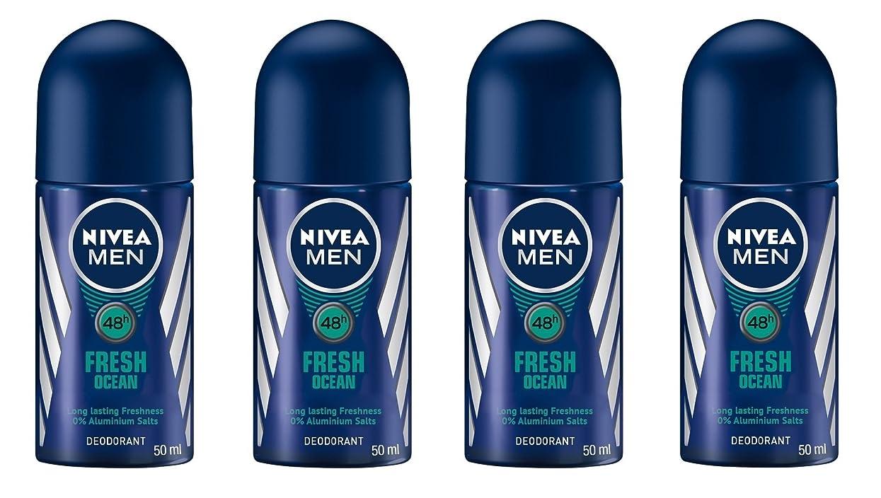 肉の設計バッテリー(Pack of 4) Nivea Fresh Ocean Deodorant Roll On for Men 4x50ml - (4パック) ニベア新鮮な海洋デオドラントロールオン男性用4x50ml