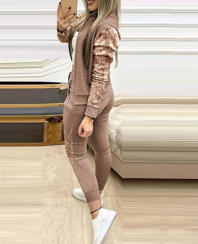 Minetom Surv/êtement Femme Ensemble Tenue Sport 2 Pi/èce /à Zipp/és Jogging Ensemble Manches Longues Blouson Veste et Pantalon Fitness Yoga Combinaison