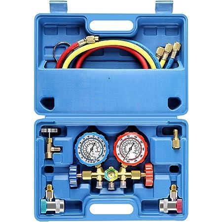 4-Way AC Air Conditioning Refrigeration Diagnostic Tool Double Distribution Gauge Valve Set R22 R134A Refrigerant Manifold Gauge Set Wakects Refrigerant Air Conditioner Set