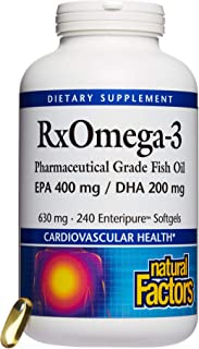 Natural Factors - RxOmega-3 Fish Oil, Supports Brain Function and Cardiovascular Health with 400mg EPA and 200mg DHA, 240 Count